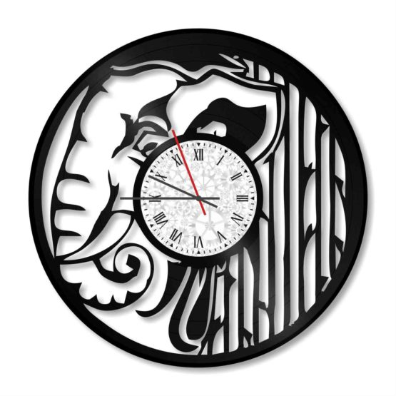 ceas decorativ de perete din vinil elefant