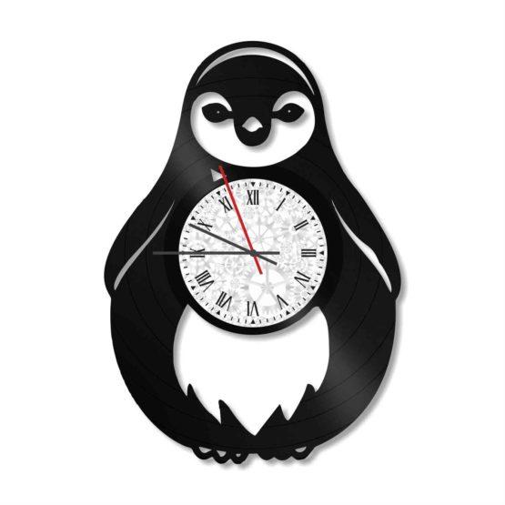 ceas decorativ de perete din vinil pinguin
